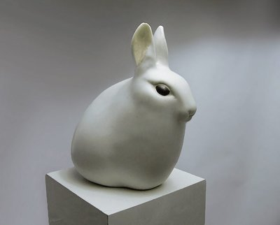 Ceramic Hare with Ears Up, white