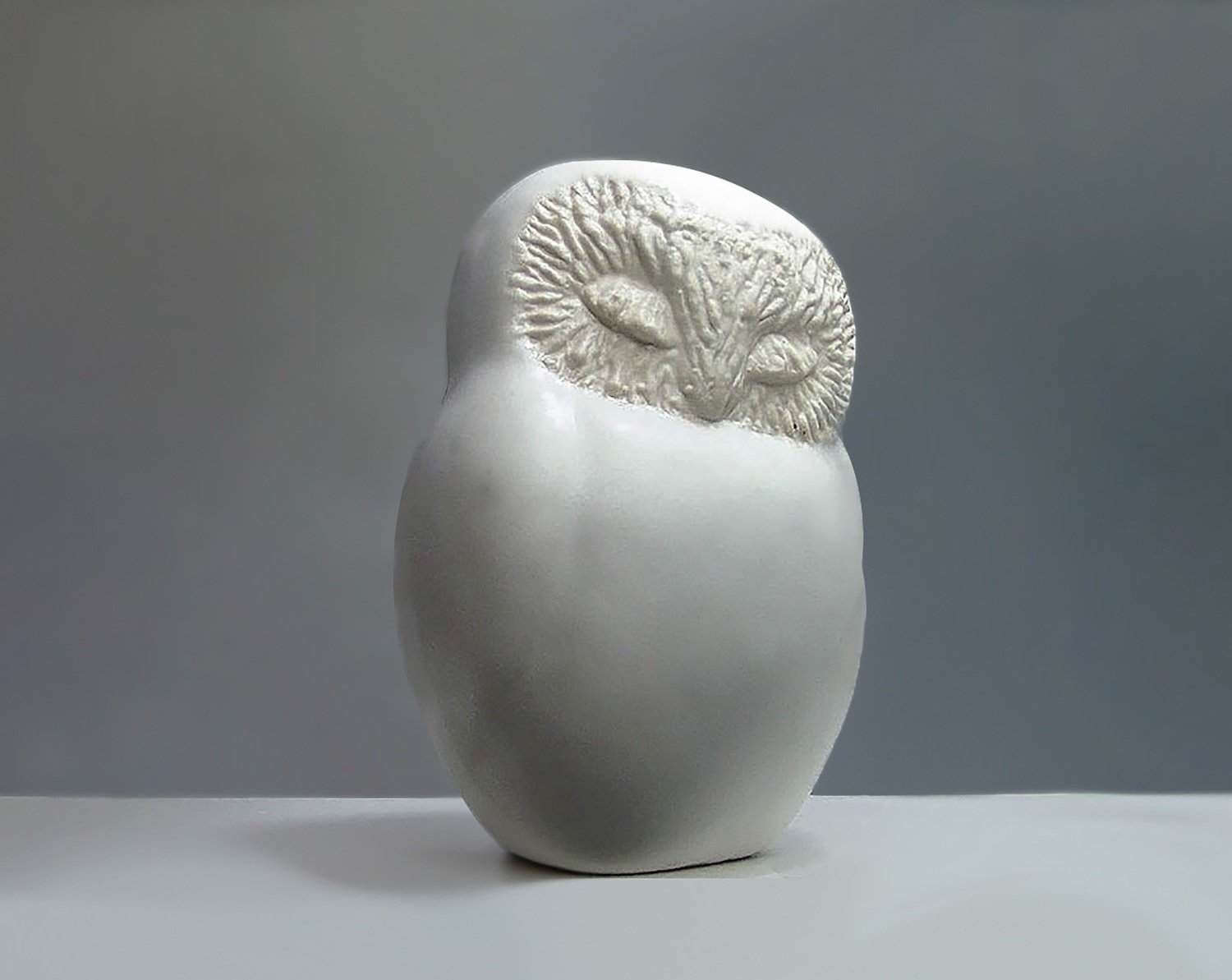 Ceramic Sleepy Owl in White Glaze
