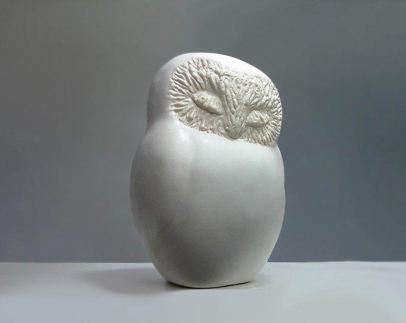 Ceramic Sleepy Owl in White Glaze