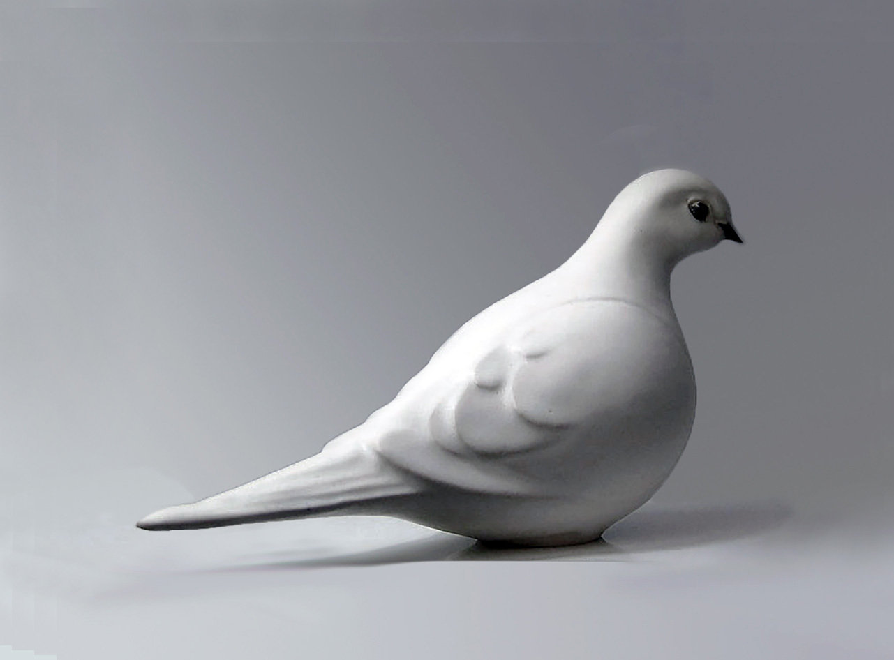 Dove Facing Right, Glazed in White