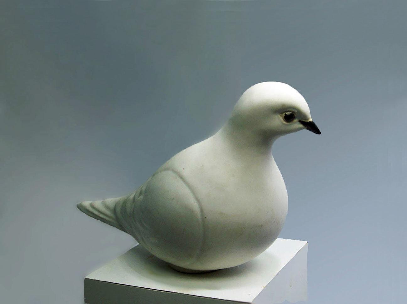 White Ceramic Dove, Facing Left, 2nd Quality