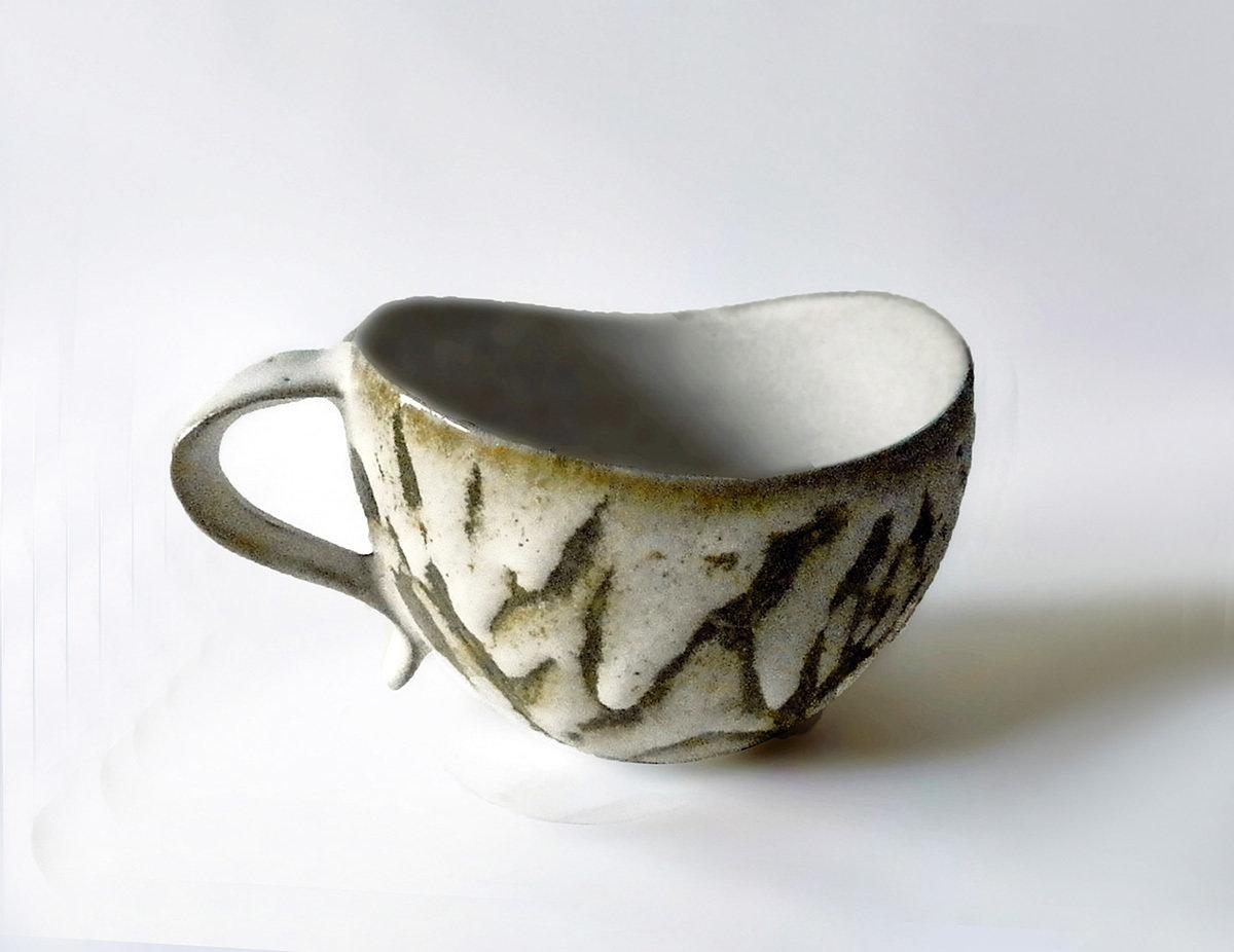Curvy Lip Mug, Abstract Grass Pattern