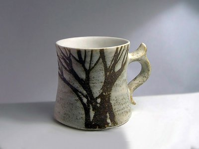 Gingerbread Mug, Wide in Brown Tree Pattern