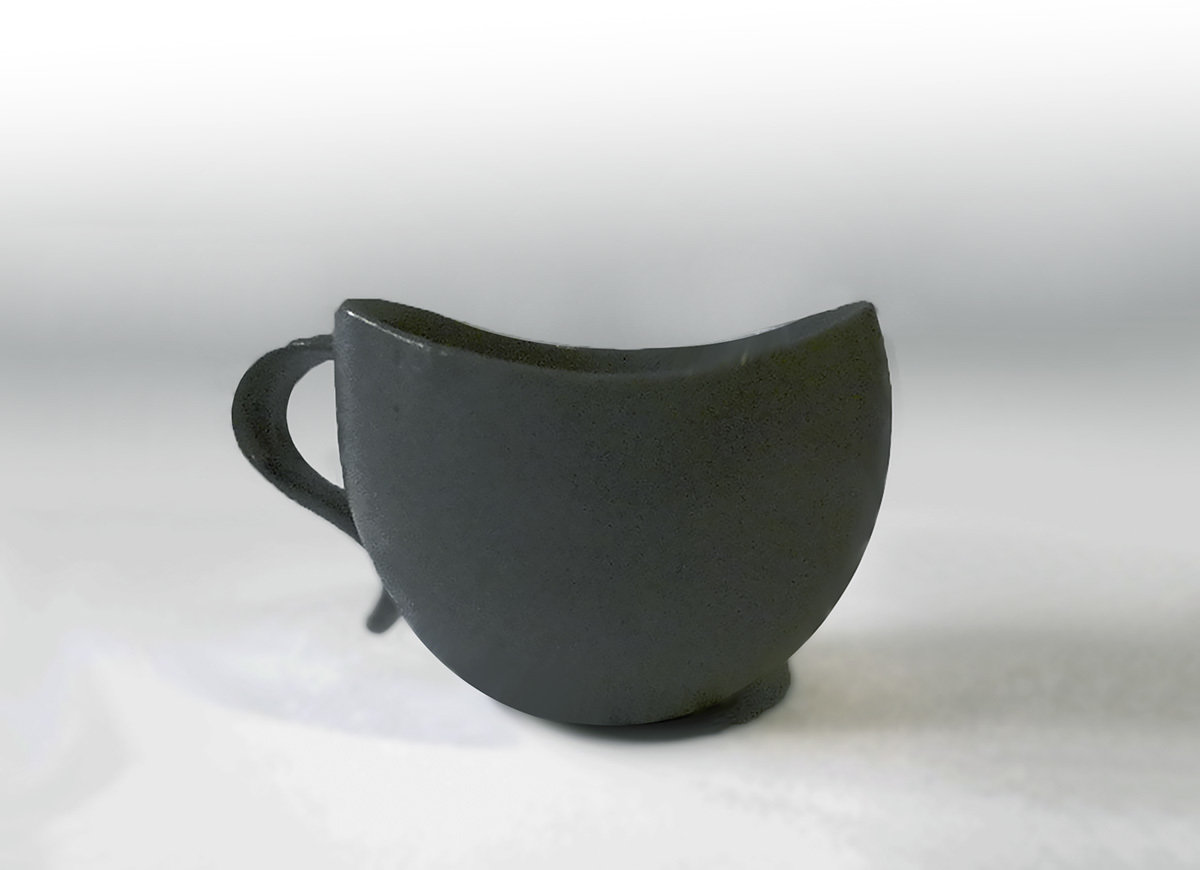 Curvy Lip Mug in Steel Gray, Second Quality