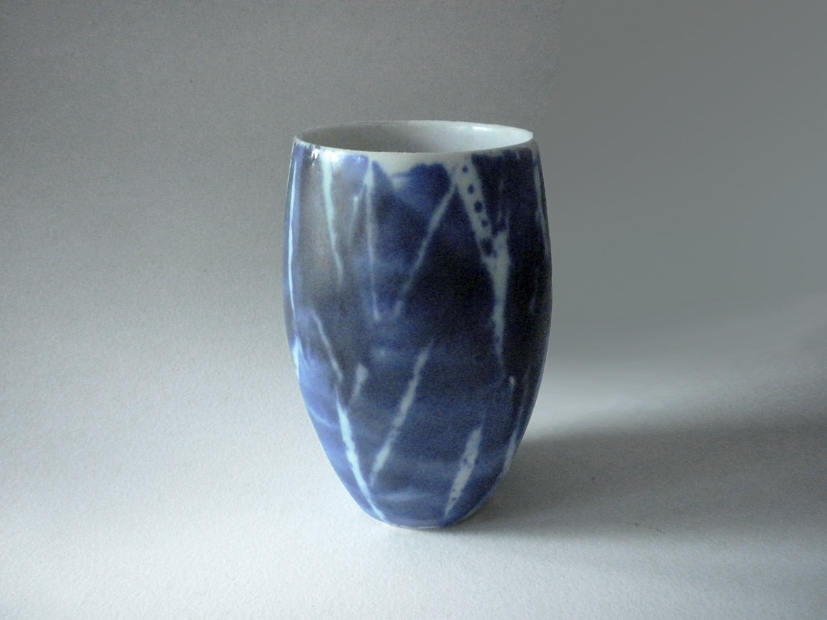 Tumbler, Blue with  White Brushwork
