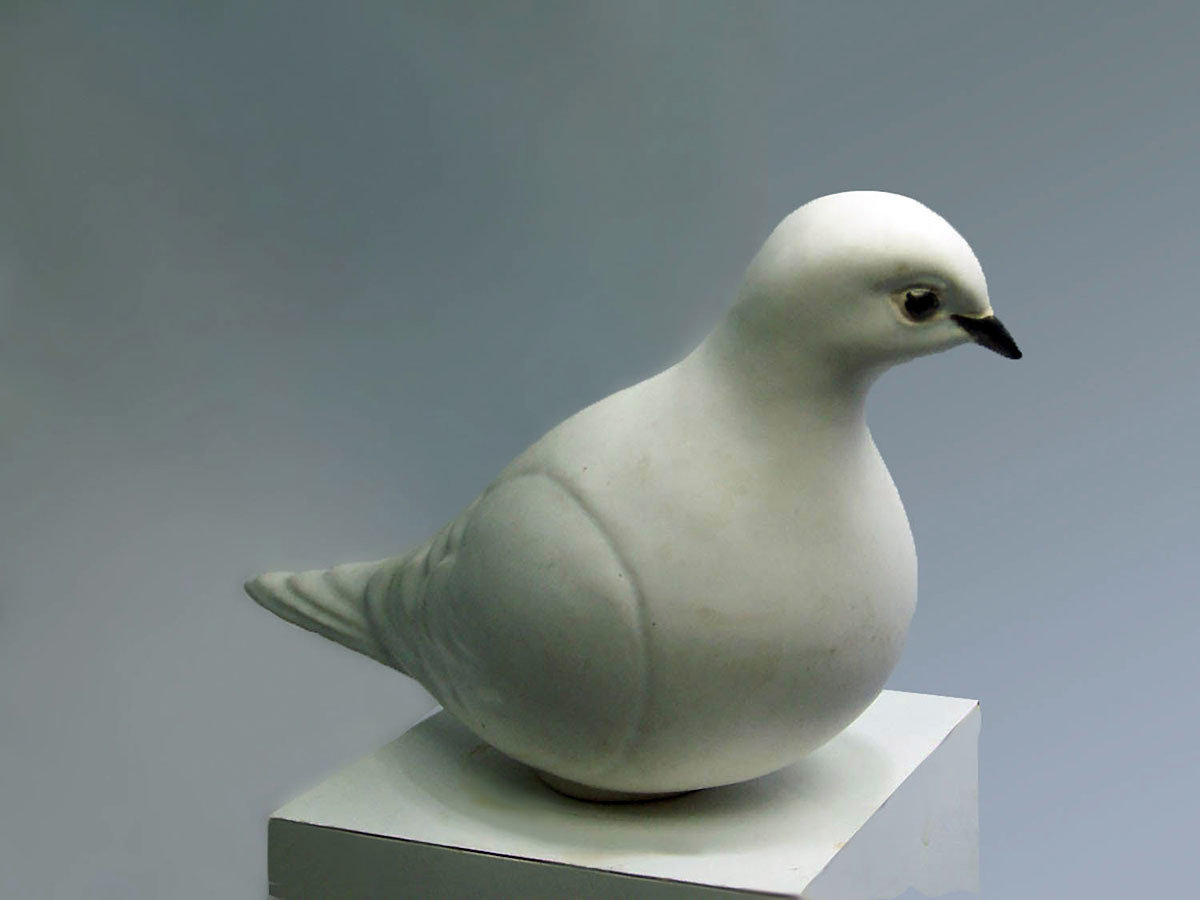White Ceramic Dove, Facing Left,