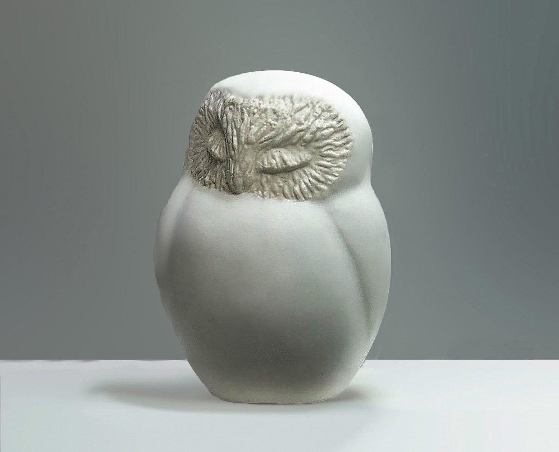 Ceramic Sleepy Owl in White Glaze, Second Quality