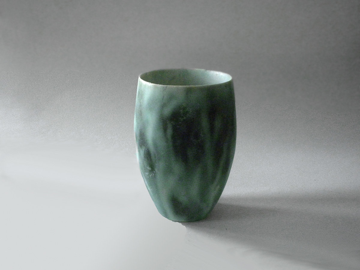 Tumbler, Green with  White Brushwork