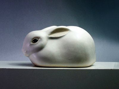 Rabbit with Ears Back, white