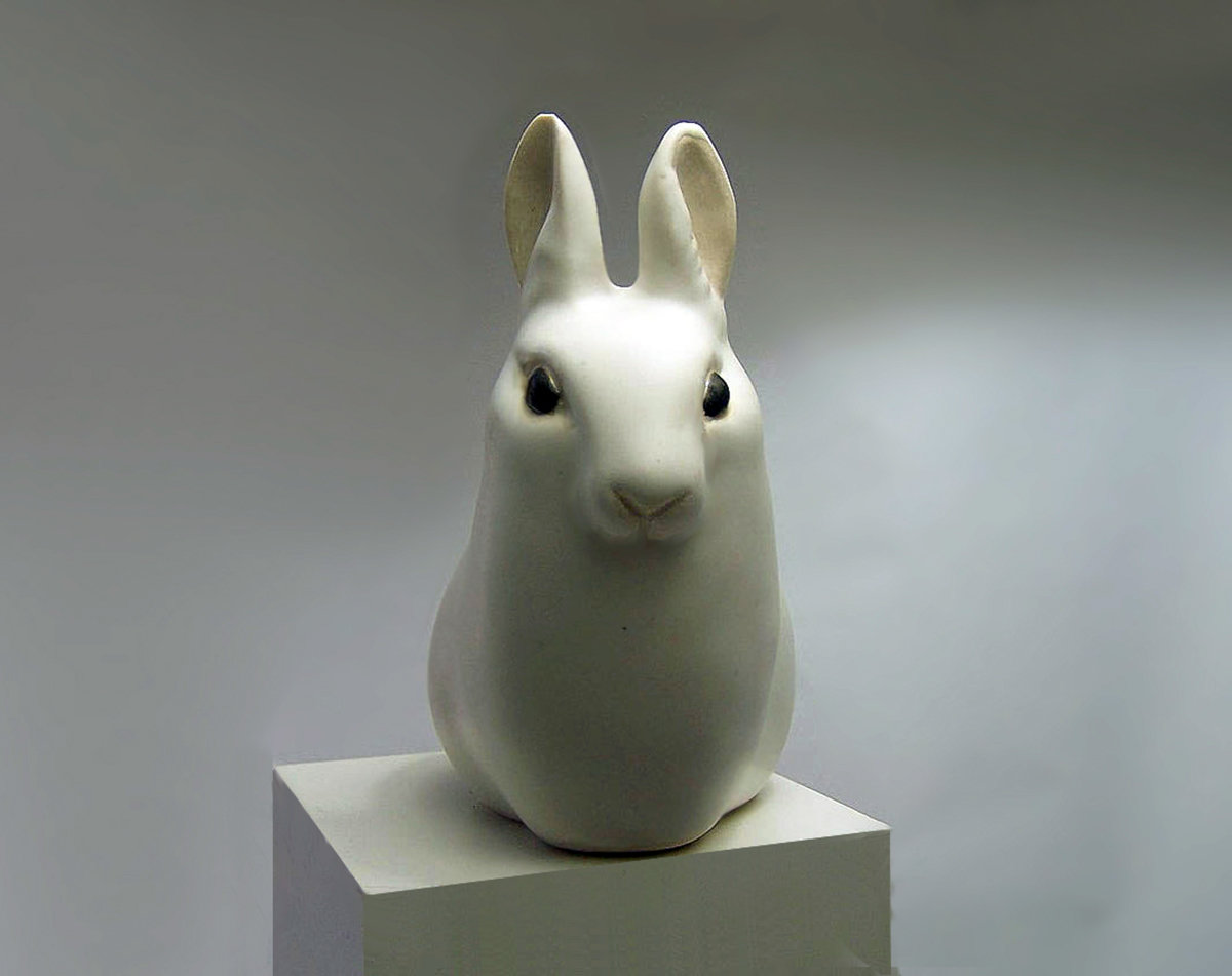 Ceramic Hare with Ears Up, white, Second Quality