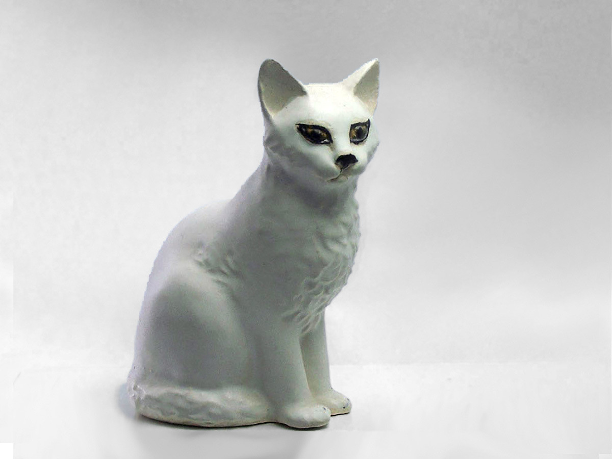 Sitting Cat  by Christine, White