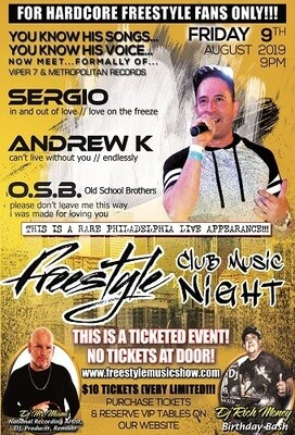 1 Ticket SERGIO/ANDREW K Live Freestyle Show - Celtic Cross Tavern (Philadelphia, PA)