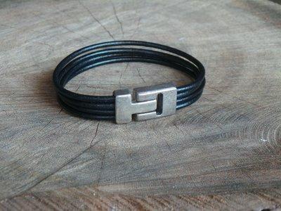 Bracelet en Cuir Rond 4 Brins Personnalisable avec Fermoir Vintage 15 MM Finition Argent Vieilli
