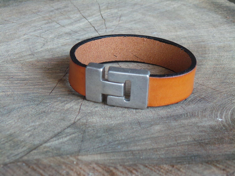 Bracelet en Cuir 20 mm avec Fermoir Vintage Finition Argent Vieilli