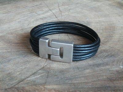 Bracelet en Cuir Rond 6 Brins Personnalisable avec Fermoir Vintage Finition Argent Vieilli