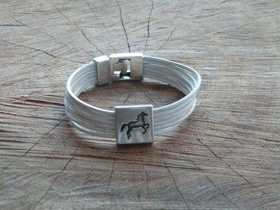 Bracelet Cuir Rond 6 Brins Personnalisable avec Fermoir Acier Coulissant Cheval