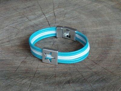 Bracelet Cuir Rond 6 Brins Personnalisable avec Fermoir Acier Coulissant Etoile