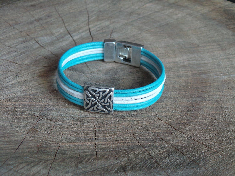 Bracelet Cuir Rond 6 Brins Personnalisable avec Fermoir Acier Coulissant Celtique
