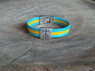 Bracelet Cuir Rond 6 Brins Personnalisable avec Fermoir Acier Coulissant Croix de Camargue