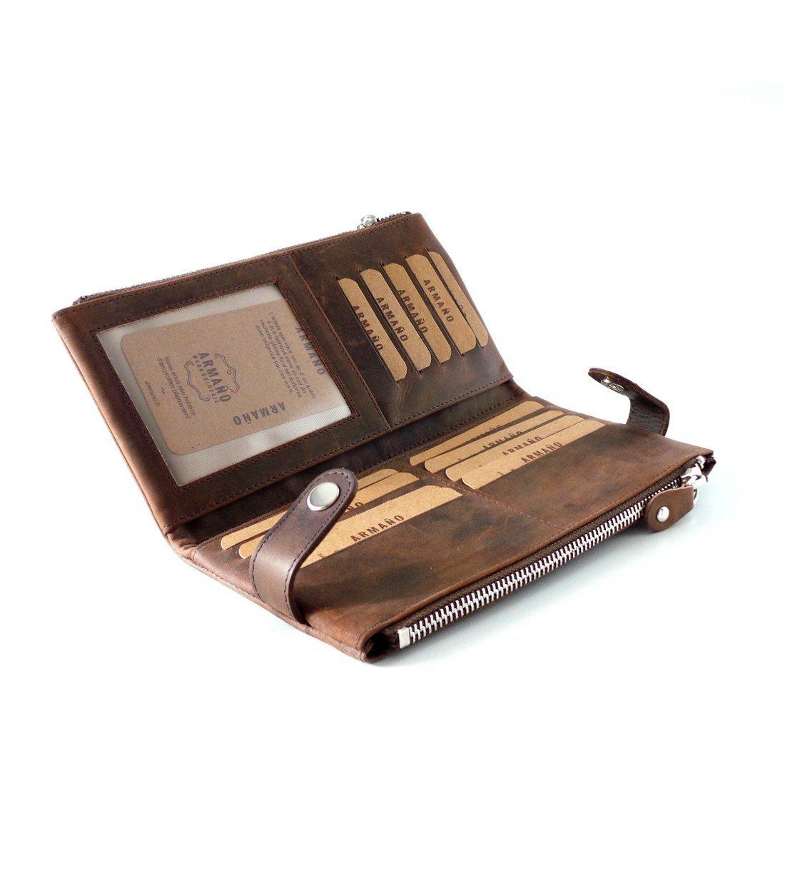 Compagnon de Voyage Porte-monnaie «Tout en un» en Cuir de Vachette Vintage Huilé #CHV118