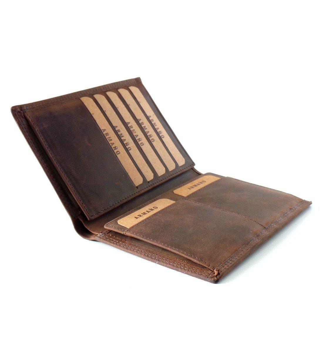 Porte-feuille 2 Volets en Cuir de Vachette Vintage Huilé #CHV016