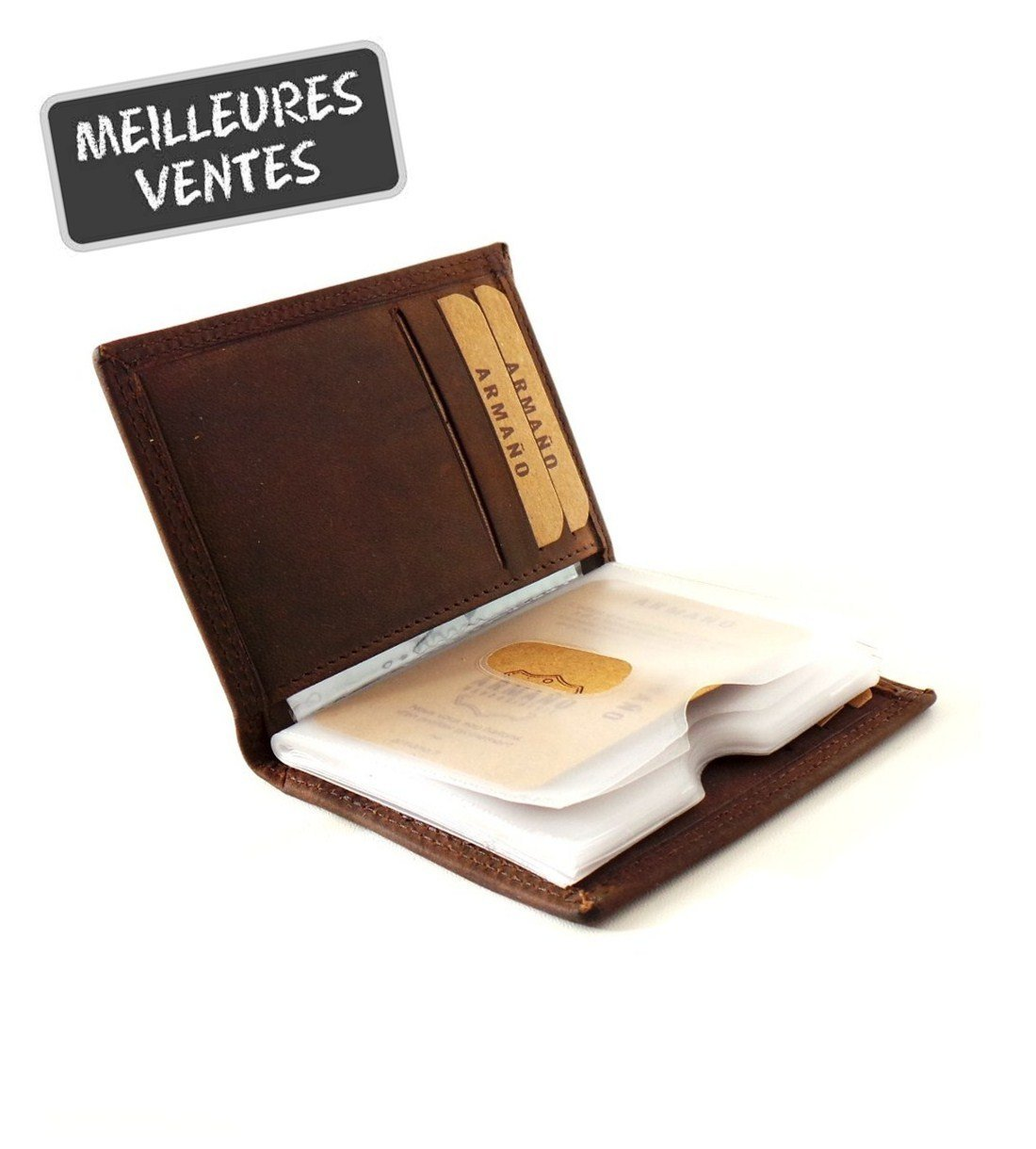 Porte-cartes en Cuir de Vachette Vintage Huilé #CHV038