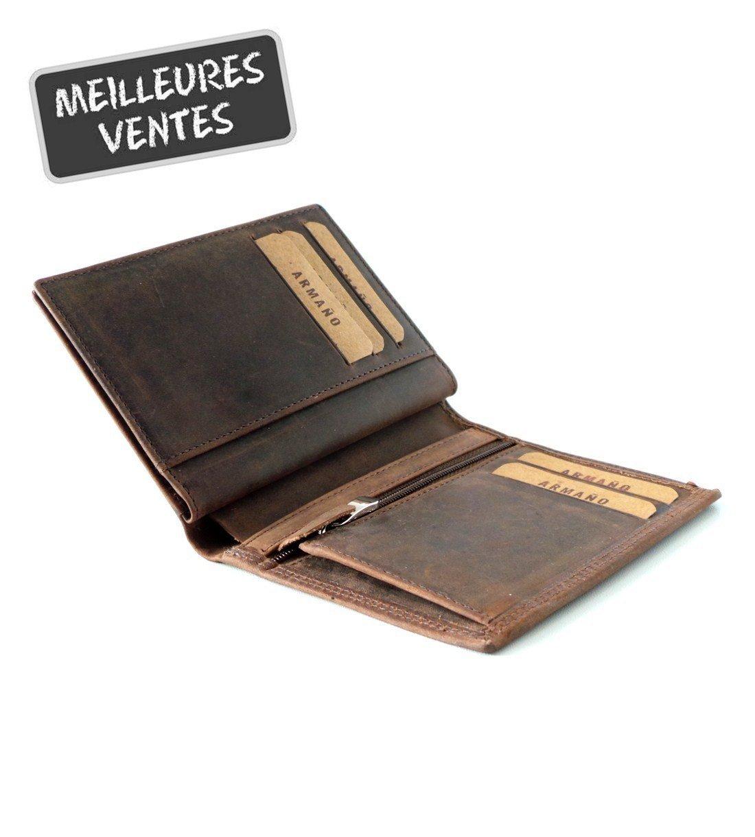 Porte-feuille Petit Format en Cuir de Vachette Vintage Huilé #CHV046