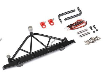 Team Raffee Co. Steel Rear Bumper W/ Shackles Led Light & Spare Tire Mount Black for Axial SCX10