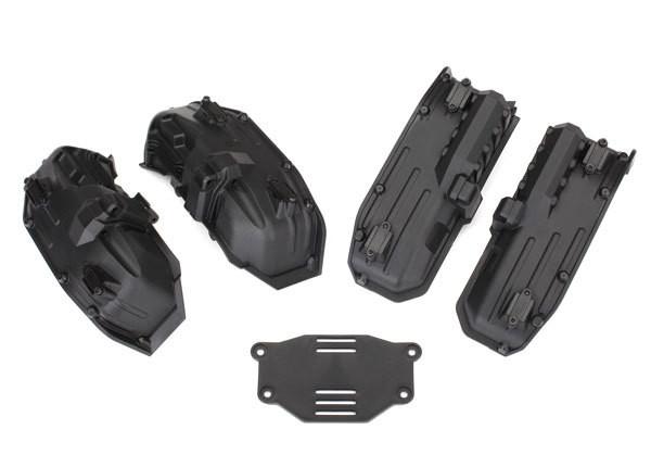 Traxxas Fenders, inner (narrow), front & rear (2 each)/ rock light covers (8)/ battery plate/ 3x8 flat-head screws (4)