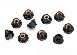 Traxxas Nuts, 4mm flanged nylon locking, serrated (black) (10)