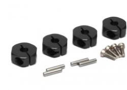 Boom Racing Aluminum Wheel Adaptors with Lock Screws With Pins & Screws - 4 Pcs Set (12mm Hex) Black