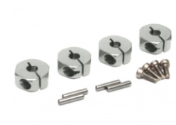 Boom Racing Aluminum Wheel Adaptors with Lock Screws With Pins & Screws - 4 Pcs Set (12mm Hex) Silver