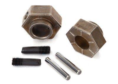 Traxxas Wheel hubs, 12mm hex (2)/ stub axle pins (2) (steel) (fits TRX-4)