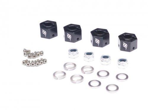 Boom Racing Aluminum 12mm Wheel Hex Widener (4) (Offset: 3mm) - Black