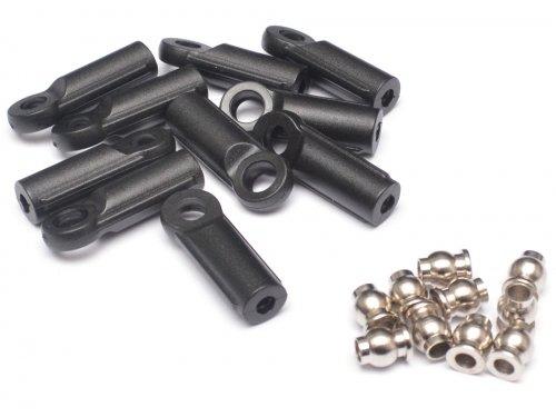 Team Raffee Co. M3 Nylon Rod Ends (Straight) 21.8MM w/ Steel Pivot Ball (5.8x3x7.4mm) (10)