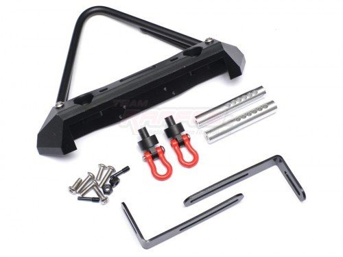 Team Raffee Co. Steel Stinger Front Bumper W/ Hooks and Led Light 1 Set Black for Axial SCX10