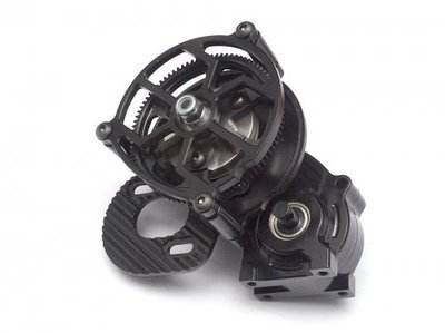 Team Raffee Co. Assemble Center Main Gearbox with Motor Mount and Metal Gears Black for Axial SCX10