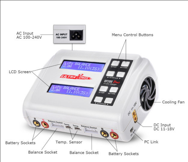 Ultra Power200 DUO 200W Dual Port Multi-Chemistry AC/DC Charger
