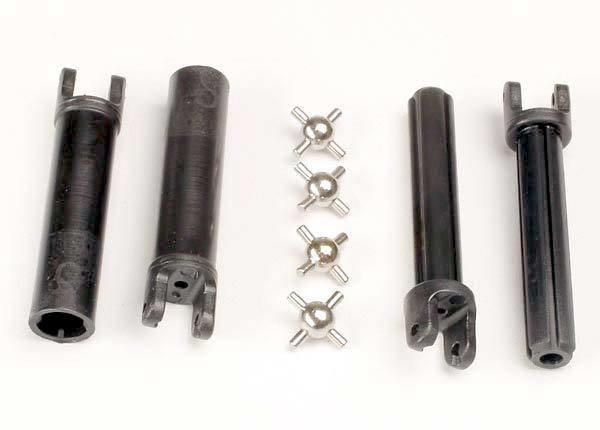 Traxxas Half shafts, long truck (external-splined (2) & internal-splined (2)/ metal U-joints (4)