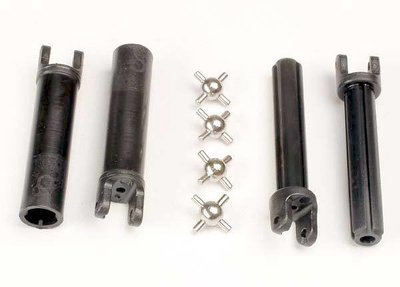 Traxxas Half shafts, long truck (external-splined (2) & internal-splined (2)/ metal U-joints (4)