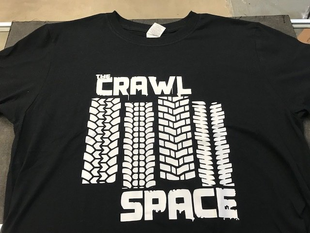 Crawl Space White Tread Logo, Black Large