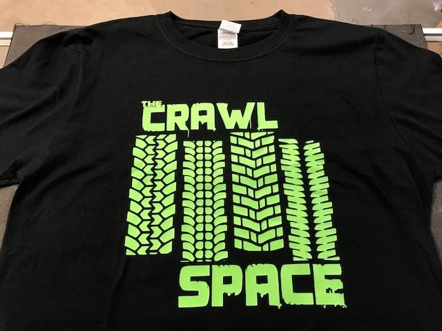 Crawl Space Green Tread Logo, Black X-Large