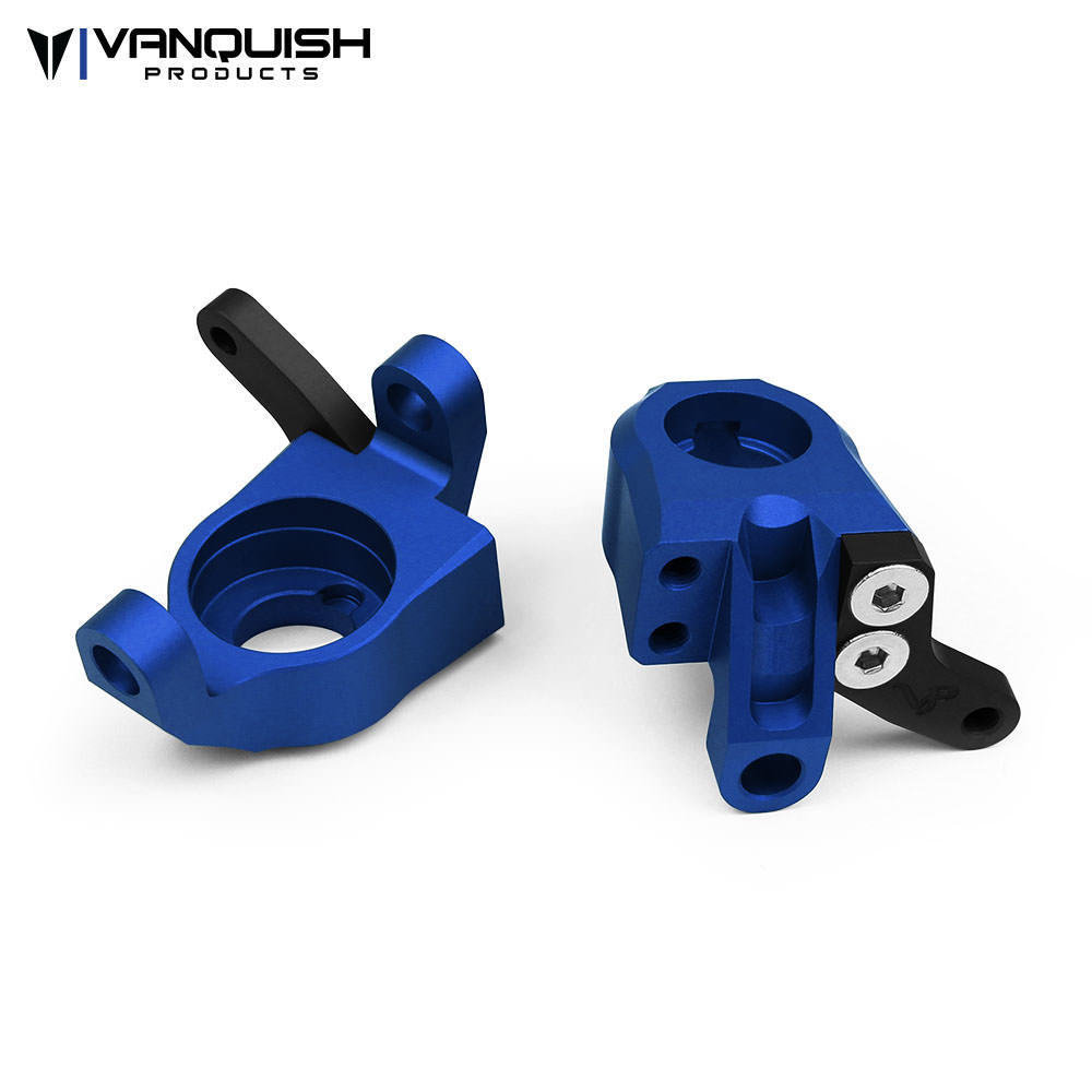 VANQUISH PRODUCTS AXIAL WRAITH STEERING KNUCKLES BLUE ANODIZED