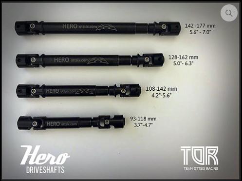 """Team Ottsix HERO DRIVESHAFT. 128-162mm (5.0-6.3"""")"""