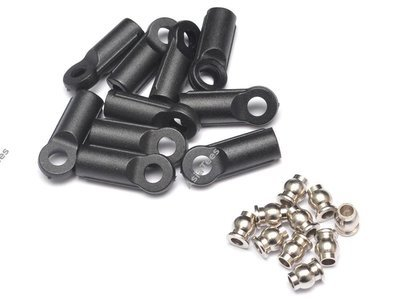 Team Raffee Co. M4 Nylon Rod Ends (Straight) 18.5MM w/ Steel Pivot Ball (5.8x3x7.4mm) (10)