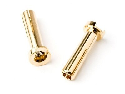 TQ Wire - 4mm Male Bullets Low Profile (2) Gold 14mm