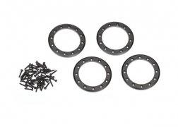"""Traxxas  Beadlock rings, black (2.2"""") (aluminum) (4)/ 2x10 CS (48)"""