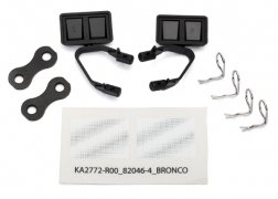 Traxxas Mirrors, side, black (left & right)/ retainers (2)/ body clips (4)