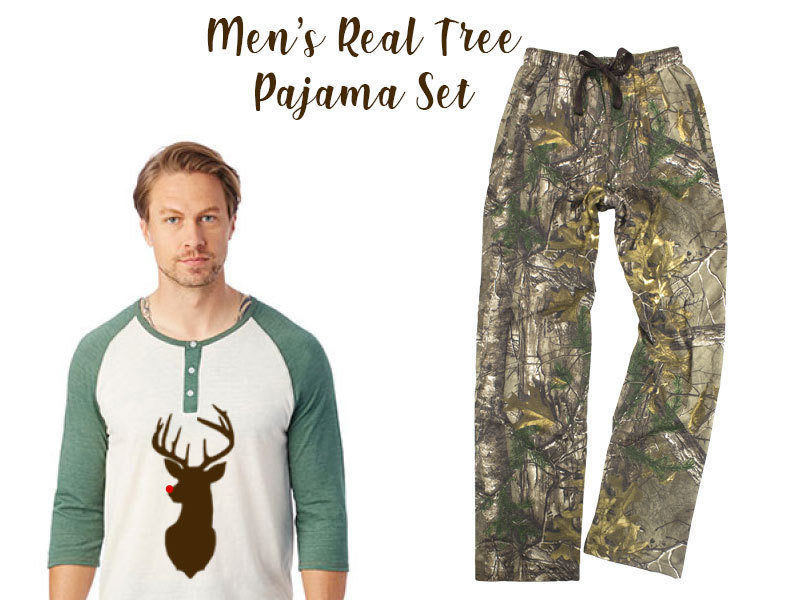 Men's Real Tree Reindeer Pajama Set