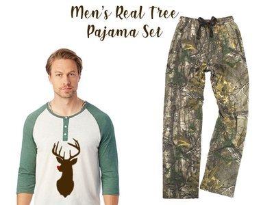 Men's Real Tree Reindeer Pajama Set